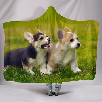 Corgi Puppy Plush Lined Hooded Blanket