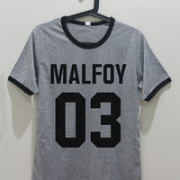 Malfoy 03 T-Shirt Draco Malfoy Shirt Gray Shirt Teens Teenage Girl TShirts Gifts Graphic Tee Shirts Unisex Women Men S M L XL