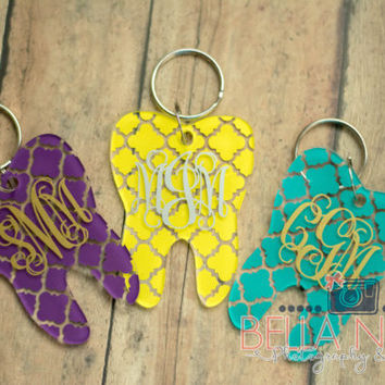 Tooth//Dental//Dentist//Dental Hygienist//Acrylic//Monogram//Personalized//Tooth Keychain