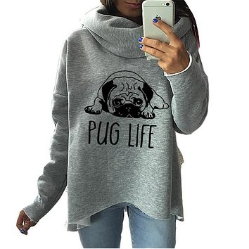 Cute Pug Dog Anime Christmas Clothes 2017 Women Winter Hoodies Scarf Collar Fashion Casual Autumn Sweatshirts Rough Pullovers