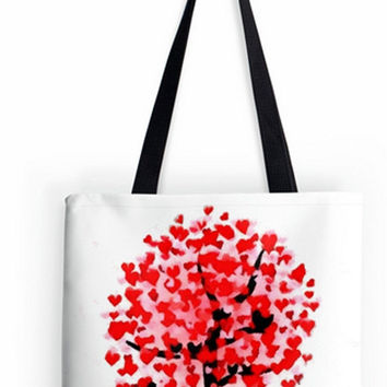 ON SALE Fine art Tote Bag Valentines Day Love romance soulmate nature trees abstract impressionist double sided print