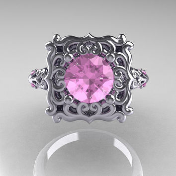 Modern Antique 950 Platinum 1.0 Carat Light Pink Topaz Engagement Ring AR116-PLATLPT