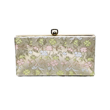 Vintage 50s Embroidered Floral Satin Evening Box Clutch Purse