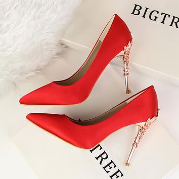 Bright Silk Stiletto Heel Pointed Toe High Heels Party Wedding Shoes