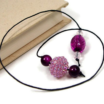 Book Thong Bookmark, Beaded, Book String, Book Cord, Purple, Magenta, Teacher Gift, Bible Bookmark