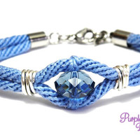 AZALEA Wire wrapped Kumihimo Bracelet, Braided Rope Bracelet with Swarovski Crystal Bead - Light blue/Denim blue