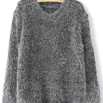 Grey Long Sleeve Mohair Loose Sweater