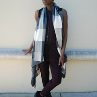 Over-Sized Plaid Vest - Black + Grey