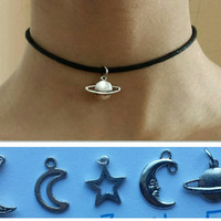 ADJUSTABLE Small Silver Galaxy Charm - MOONS and PLANETS Choker on Black  Cotton Chord with Adjustable Lobster Clasp - Two Sizes