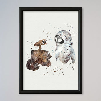 Wall-E and Eva Disney Poster Watercolor illustrations, Art Print, Nursery Art Wall Decor gift for daughter for boy for child
