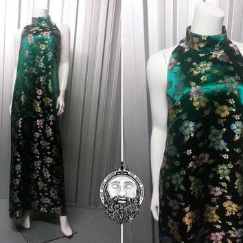 Vintage 70s Emerald Green Long Chinese Dress Maxi Dress High Neck Mandarin Collar Oriental Print Satin Fabric Floral Pattern Disco Dress
