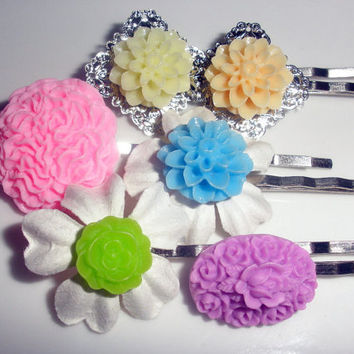 Spring Colors pastels set of 6 bobby pins hair accessories lot flower silver filigree base pink purple Easter orange yellow