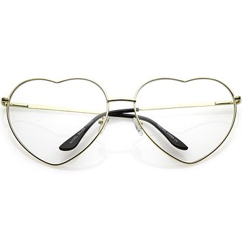 Oversize Women's Festival Heart Shape Clear Lens Glasses C304