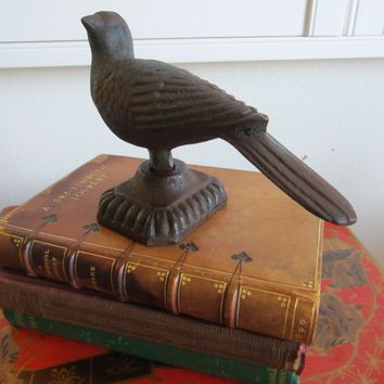 Cast Iron Monumental Bird Singed Sculpture