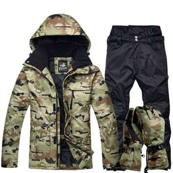 Winter Mens Mountain Skiing Suit Warm Hoody Jacket High Waist Snow Pants Snowboarding Suit Camouflage Military Camping Tracksuit