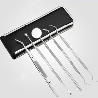 5 Pcs/Set Dentist Tool Stainless Steel Teeth Clean Tweezer Scraper Scaler Mirror Dental Probe Dental Hygiene Oral Care H