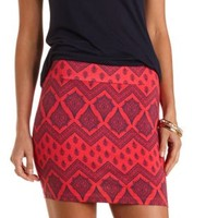Paisley Print Bodycon Mini Skirt by Charlotte Russe