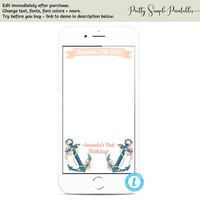 Nautical Snapchat Filter, Girl Birthday, Anchor Birthday Decor, Editable Template, Nautical Geofilter, Edit Yourself Geofilter Templett NA01