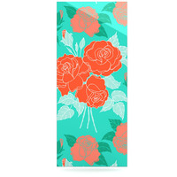 "Anneline Sophia ""Summer Rose Orange"" Teal Green Luxe Rectangle Panel"