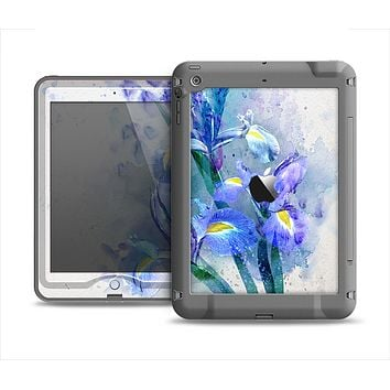 The Abstract Blue Floral Art Apple iPad Air LifeProof Nuud Case Skin Set
