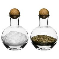 Sagaform® Oval Oak Spice/Herb Bottles, 2 Pack - clear with oak stoppers