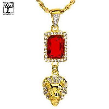 """Jewelry Kay style Men's Iced Out Double Red Ruby & Lion Head Pendant 20"""" Chain Necklace NA 0186 G"""