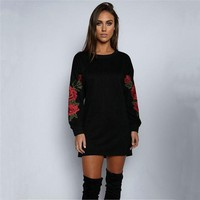 ESBC8S Round-neck Long Sleeve Floral Hoodies