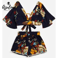AZULINA Floral Plunging Neck Cropped Top High Waisted Lace Trim Shorts Women Clothes Casual Two Piece Set Summer Twinset