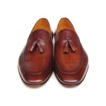 ac NOVQ2A Paul Parkman Men's Tassel Loafer Brown Hand Painted Leather