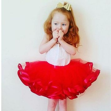 Baby Girls tutu skirts 3 layers ribbon tulle Red Christmas Costume Cute Toddler Infant Children Birthday Party Pettiskirt Skirts
