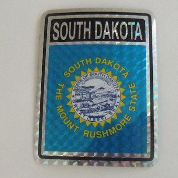 "South Dakota Flag Reflective Sticker 3""x4"" Inches Adhesive Car Bumper Decal"