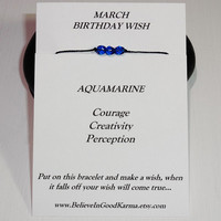 March Birthday Wish Bracelet - Aquamarine - Happy Birthday Bracelet