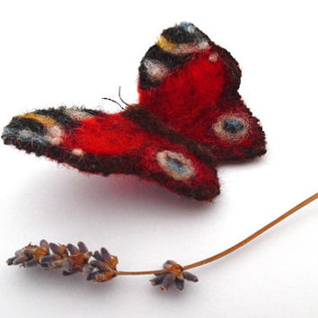 Peacock butterfly brooch / colourful / wool / needle felt / red / white / blue / yellow / gift / copper / handmade / vintage / insect brooch