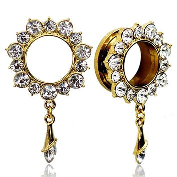 IP Gold Stainless Steel Screw Fit Tunnel Rhinestone Plugs with Crystal Dangle