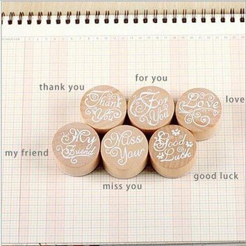 6pcs Wooden Greeting Assorted Retro Vintage Floral Flower Pattern Round Rubber Stamp Scrapbook DIY Craft Party supplies 9z