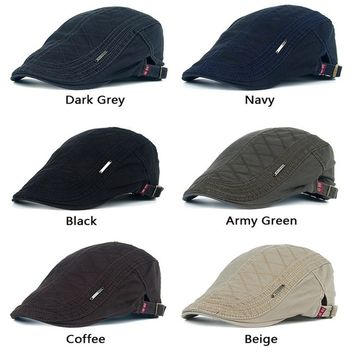 Autumn Cotton Berets Caps for Men Casual Peaked Caps Grid Embroidery Berets Hats Casquette Cap