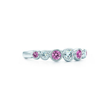 Tiffany & Co. - Tiffany Jazz™ graduated band ring with pink sapphires and diamonds in platinum.