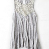 AEO Women's Embroidered Tank (Light Heather Grey)