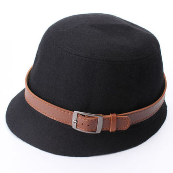 Vintage Women Cloche Wide Brim Wool Felt Bowler Fedora Hat Bucket Cap