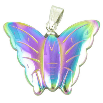 Lucky and Happy Butterfly Pendant Necklace in Rainbow Simulated Hemalyke-Hematite Pendant