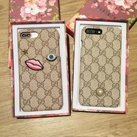 """Gucci"" Women Retro Fashion Leather Pearl Eye iPhone8/6S Phone Hard Shell iPhone7 Plus Apple Phone Case"