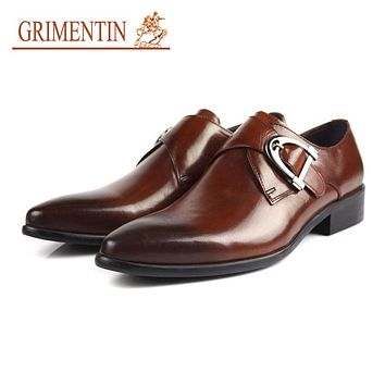 buckle shoes men casual black brown rubber sole genuine Leather mens dress Shoes male Business work wedding