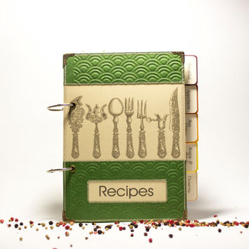 Blank Recipe Book Binder  Recipe Organizer with Zigzag Stitching &120 lined pages