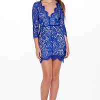 (alm) Lace plunging 3/4 sleeves royal blue dress