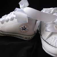 Bling Converse, AB Crystals, Baby Shoes, High Top Sneakers, Pearls Rhinestones, Size 1 , Infant Girl