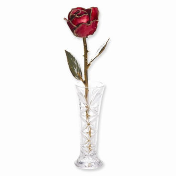 24k Gold Plated Red Rose and Small Bud Vase Set
