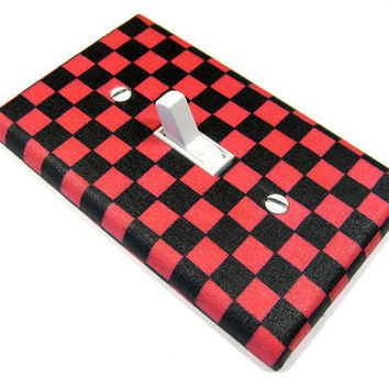Hot Pink and Black Checkerboard Rockabilly Decor by ModernSwitch