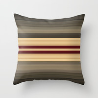 Rich Gold Burgundy Stripes Throw Pillow by Sheila Wenzel