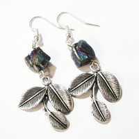 Mystic Pyrite Silver Leaf Earrings, Genuine Pyrite Nugget and Silver 3 Leaf Earrings, Bohemian Jewelry