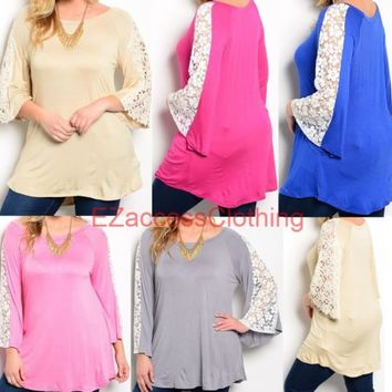 Women Plus Size Crochet Lace Long Sleeve Tunic Top Blouse hi low free shipping